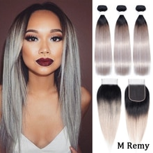 Amanda T1b/silver grey Brazilian Straight Hair 3 Bundles with Lace Closure Free Part Remy Human Hair Bundles with 4x4 Closure