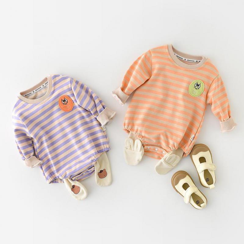 Новинка Осень 2021, хлопковое боди для маленьких мальчиков, милый мультяшный комбинезон для новорожденных, модная одежда в полоску для малень...