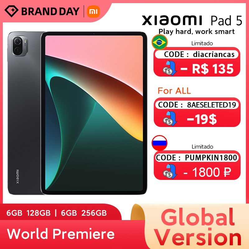 World Premiere Global Version Xiaomi Pad 5  11'' WQHD+ 120Hz Display Snapdragon 860 4 Stereo Speakers 8720mAh MI tablet 5