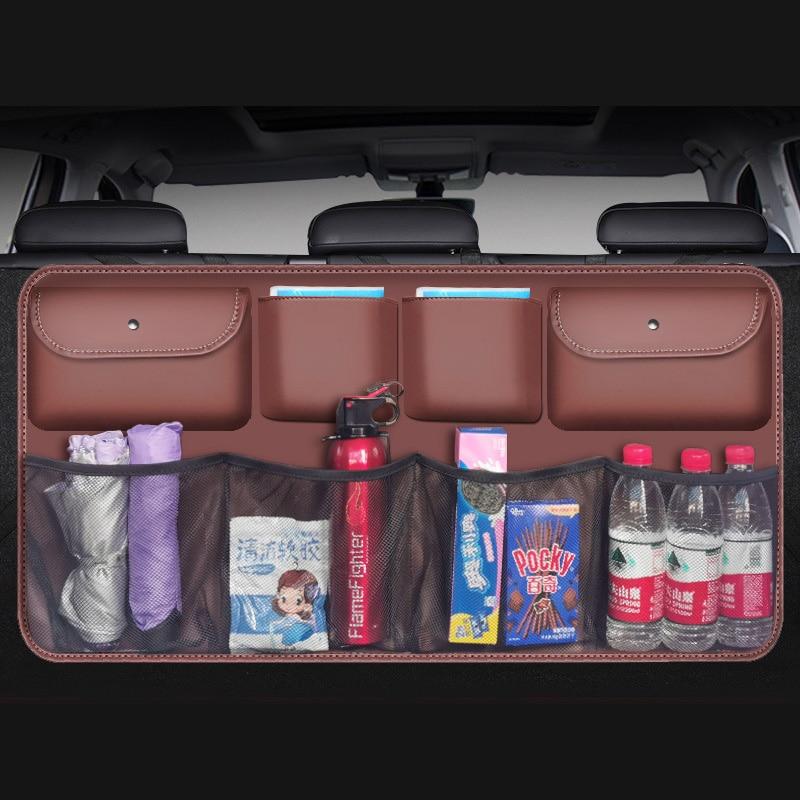 High Quality Leather Car Trunk Organizer 2020 Rear Seat Back Storage Bag Multi-use Car Trunk Organizer Auto Accessories Supplies