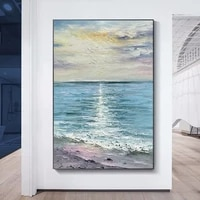 modern artist painted abstract beach scenery oil painting on canvas wall art frameless picture decor for living room home gift