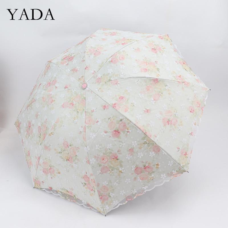 Guarda-chuva para Feminino à Prova de Vento Yada Alta Qualidade Laço Flor Rosa Princesa Guarda-sóis Chuva uv 3-dobrável Ys200195