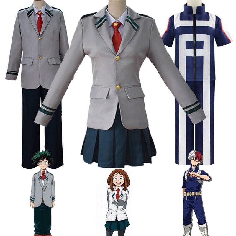 Cosplay de Anime japonés My Hero Academia Boku No Izuku Midoriya, disfraz Deku, uniforme de escuela secundaria, peluca, conjunto de ropa deportiva para mujer