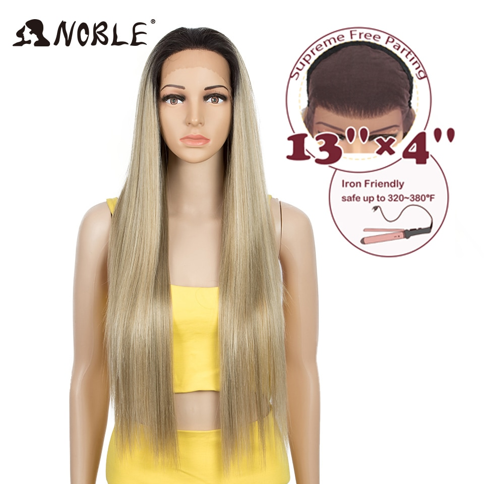 hot quality good synthetic black root to blonde ombre lace front wig long wavy cap girls cosplay wig free shipping Noble Cosplay Synthetic Lace Front Wig 13x4 Lace Frontal Wig 32 Long Straight Ombre Blonde Wigs For Black Women Lace Front Wig