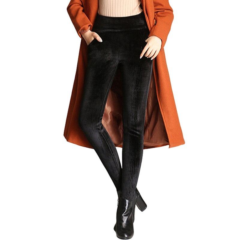 Oumengka 2020 inverno duplo engrossar veludo magro calças femininas cintura elástica alta estiramento calças finas femininas lápis