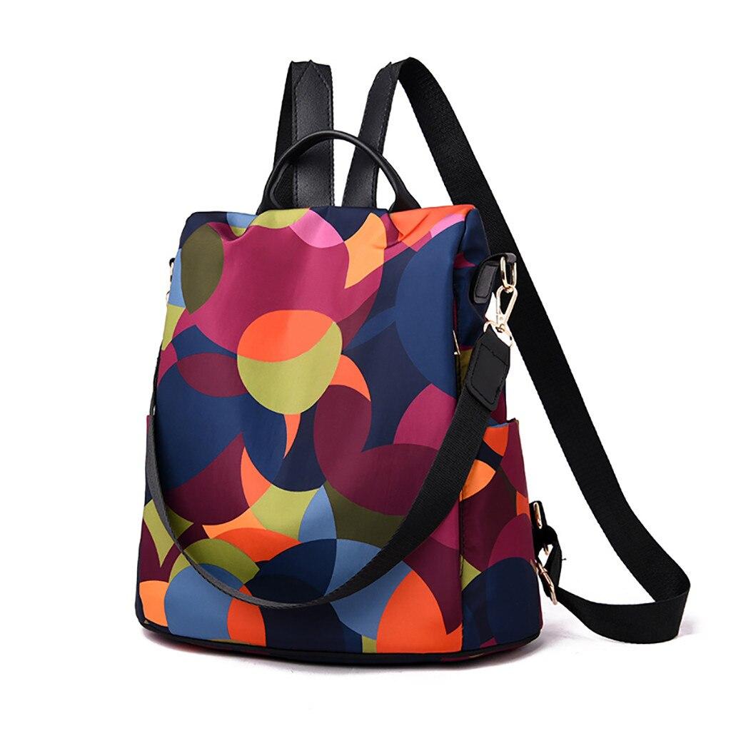 Mochila de viaje salvaje para mujer bolsa para estudiantes Mochila de tela Oxford colorida marca famosa PU bolsos de cuero Zaino Da Donna # NG
