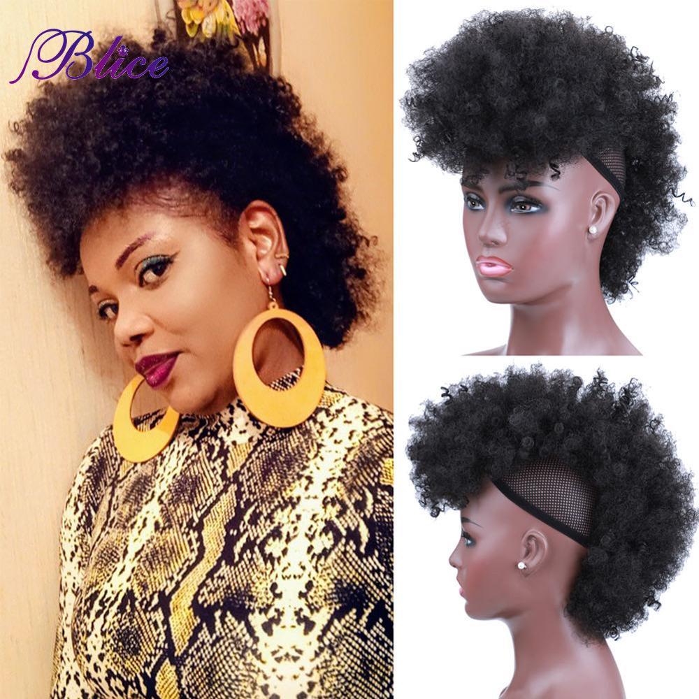 Estilo de Extensão do Cabelo Grampo em Hairpiece para Mulheres Kinky Encaracolado Curto Mohawk Afro-americanas