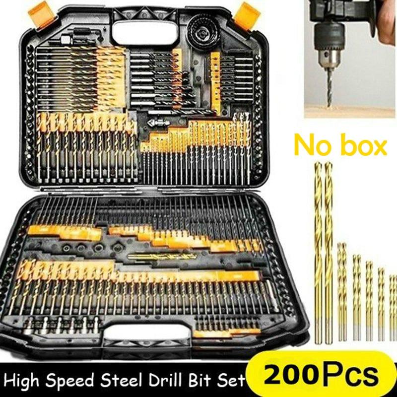 200/100Pcs 1/1.5/2.0/2.5/3mm Titanium Coated Twist Drill Bit High Steel for Woodworking Plastic And Aluminum HSS Drill Bit Set