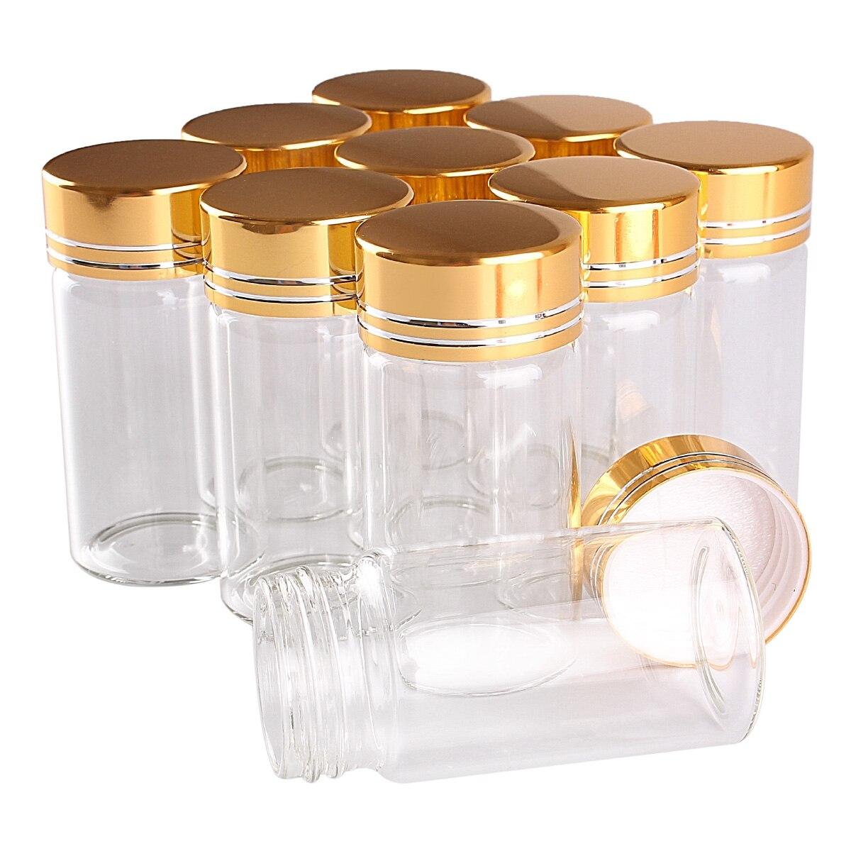24 قارورة زجاجية شفافة ، 25 مللي ، 30 × 60 مللي متر ، مع غطاء ذهبي ، زجاجة بهارات ، عطر ، زجاج شفاف