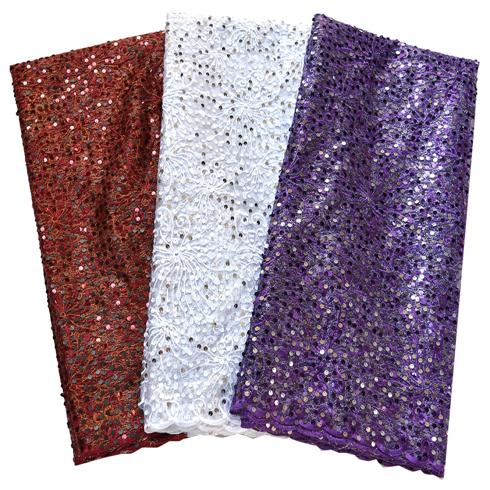 High quality french lace fabric with sequin African tulle sequin shiny fabric white purple blue Nigerian lace fabrics