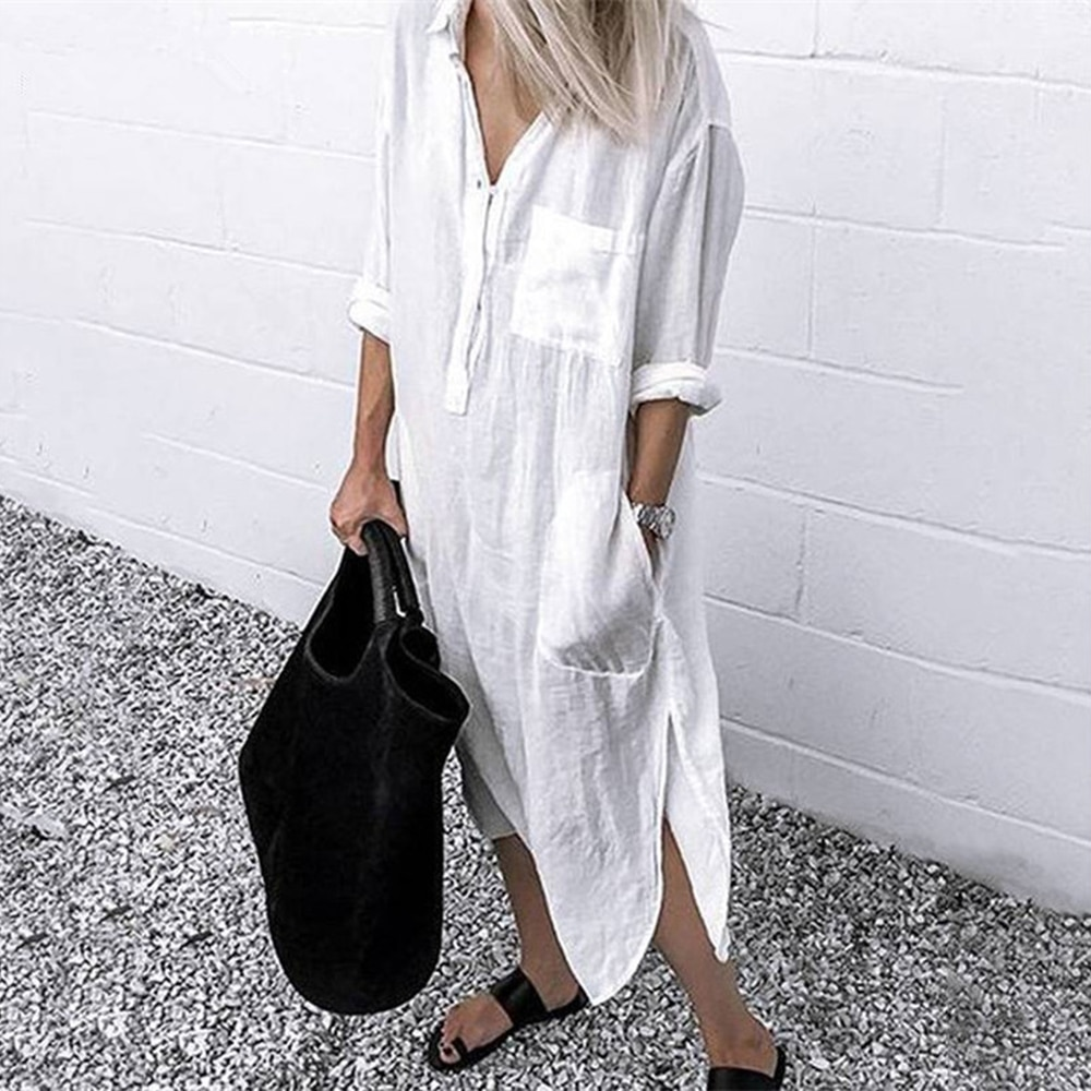 New Women Lapel Long Sleeve Spring Shirt Dress Elegant Solid V Neck Pocket Work Office Cotton Split