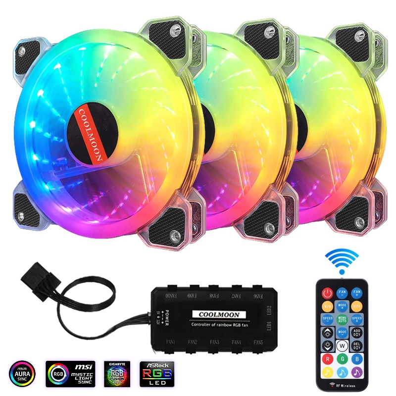 PC Cooling 120mm Fan 6PIN Adjustable Rgb Mute Cooler Cooling Computer Fans Cooler Master Ventilador 12V DC Aura Sync 120mm RGB coolmoon 120mm pc computer case fan cooling cooler 6pin adjustable rgb mute ventilador rgb case fans adjust speed