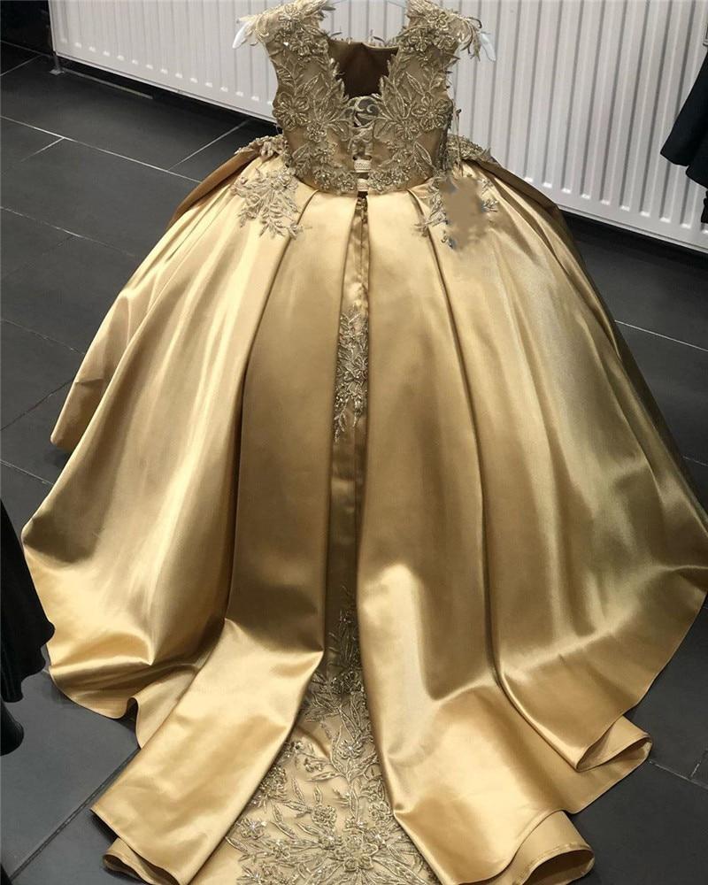 فستان زهري ذهبي للبنات ، لحفلات الزفاف ، مع زينة الدانتيل ، الساتان ، لحفلات أعياد الميلاد ، للأطفال