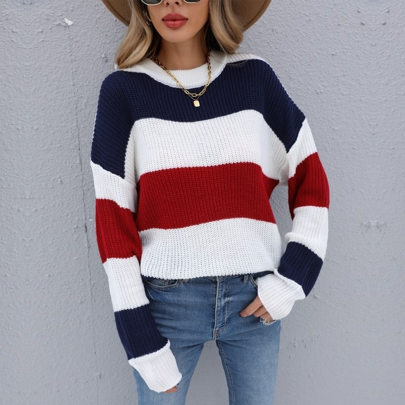 Autumn And Winter 2021 New Striped Knitted Long Sleeve Round Neck Bottomed Sweater Dresses For Women Casual Fashion Tops enlarge