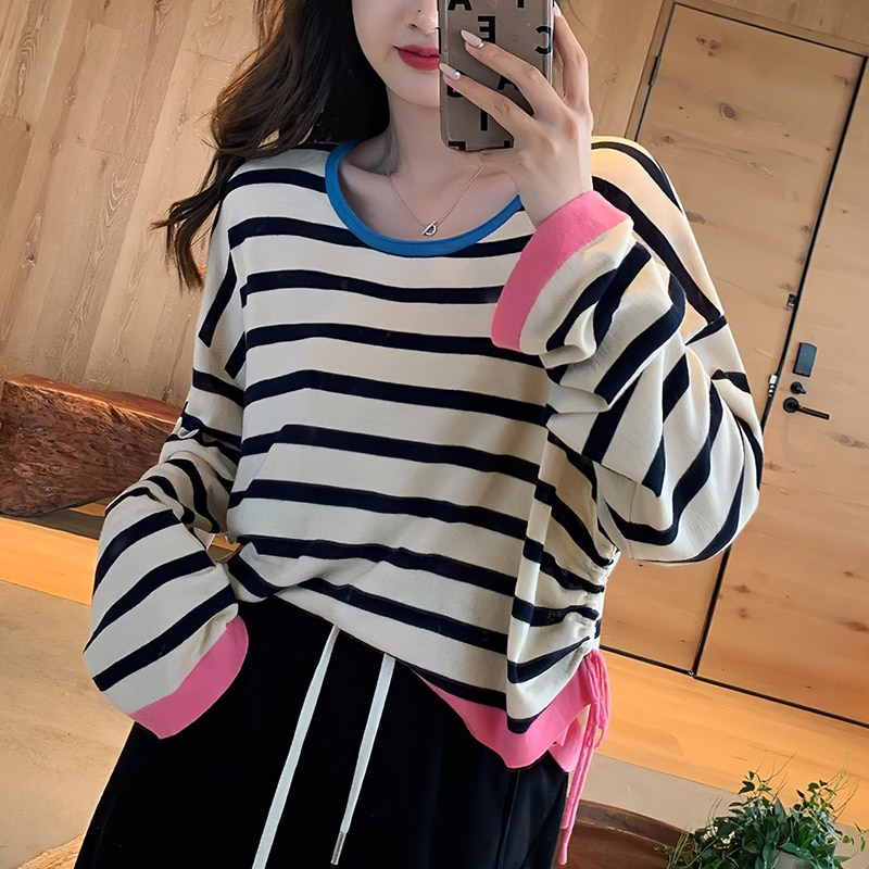 contrast striped pullover sweater Harteen Fashion Long Sleeve Striped Spring Autumn 2021 New Femme Top Women Clothing Contrast Sweater Basic Thin Sweater Pullover