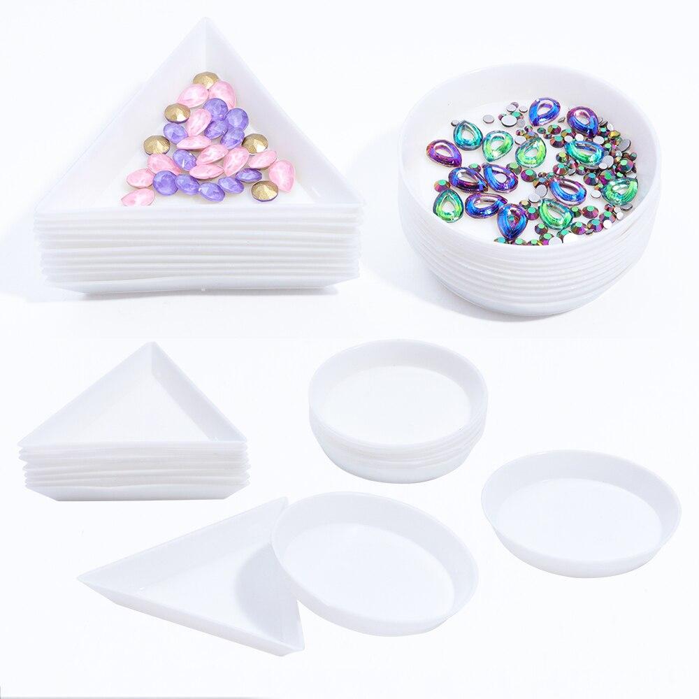 5 pçs redondo triângulo de plástico strass prego arte caixa placa bandeja titular recipiente armazenamento jóias glitter copo manicure ferramenta laa11