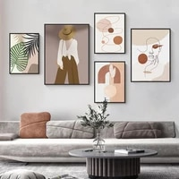 Morandi toile peinture abstraite mode Figure visage mur Art affiche minimaliste Vintage photos pour salon decor a la maison