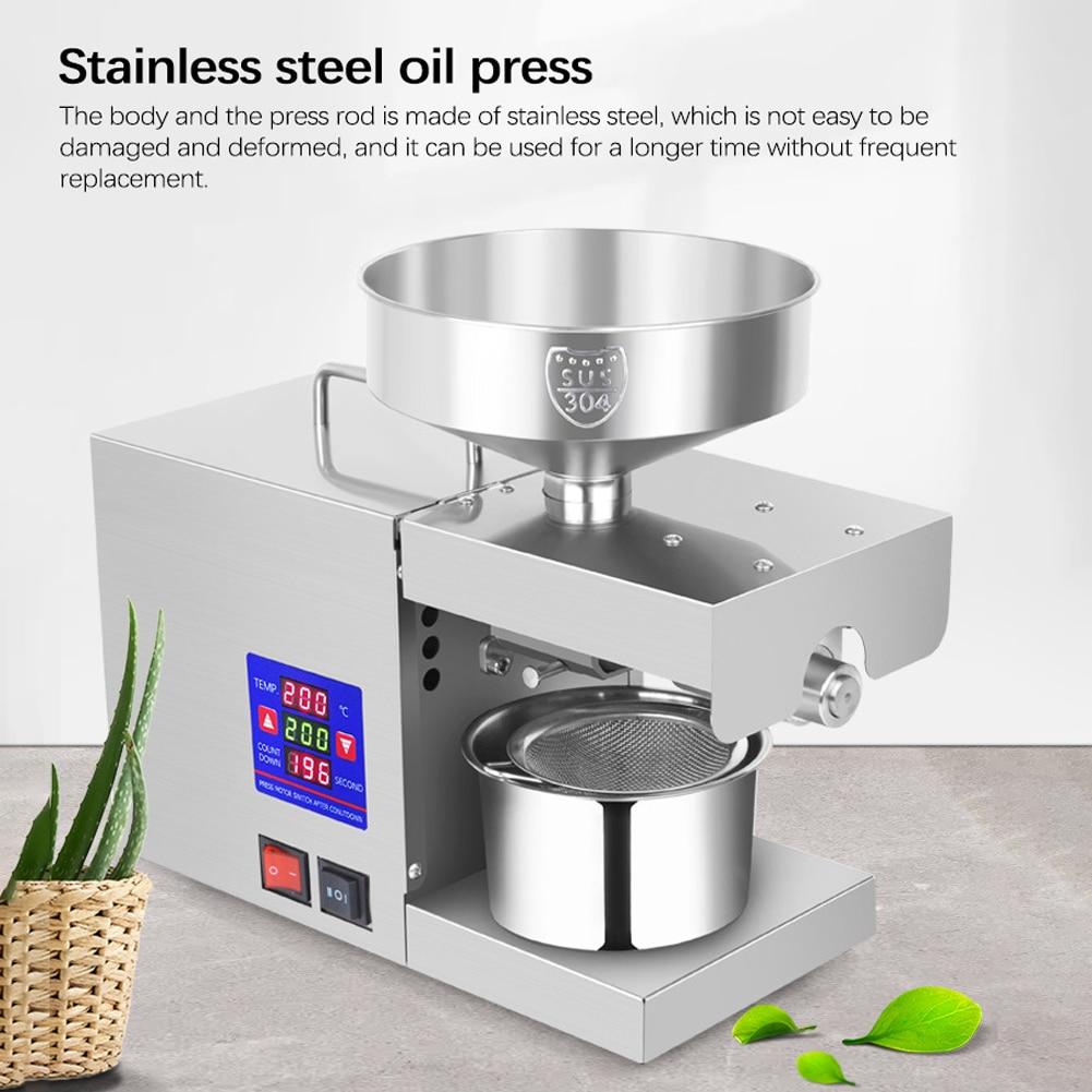 LTP333 610 واط ذكي الفولاذ المقاوم للصدأ المنزلية المطبخ التجاري آلة ضغط الزيت مع شاشة ديجيتال 0 ~ 300 ℃ درجة الحرارة