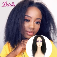 Betella Kinky Curly Afro Hair Wigs Yaki Straight Wigs Ombre Synthetic Wig For  Women Medium Part Women Black Natural Female Wigs