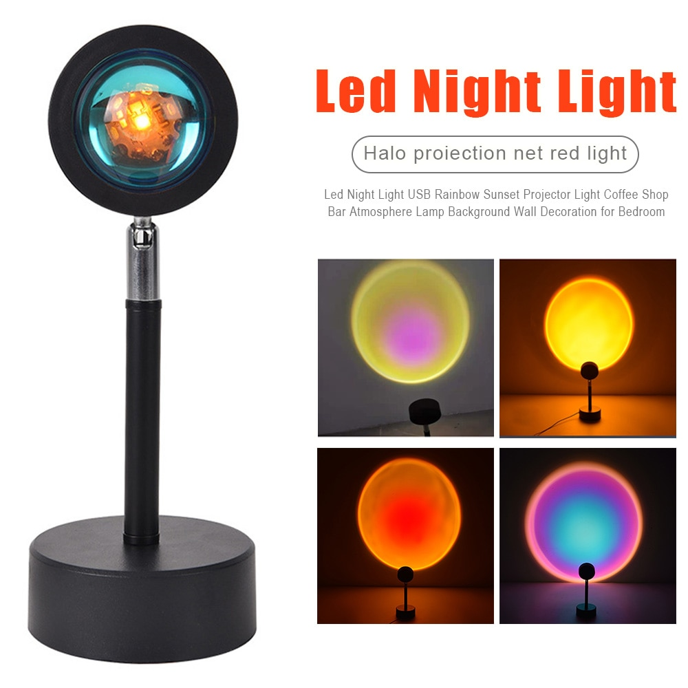 Led Night Light USB Rainbow Sunset Projector Light Coffee Shop Bar Atmosphere Lamp Background Wall Decoration For Bedroom