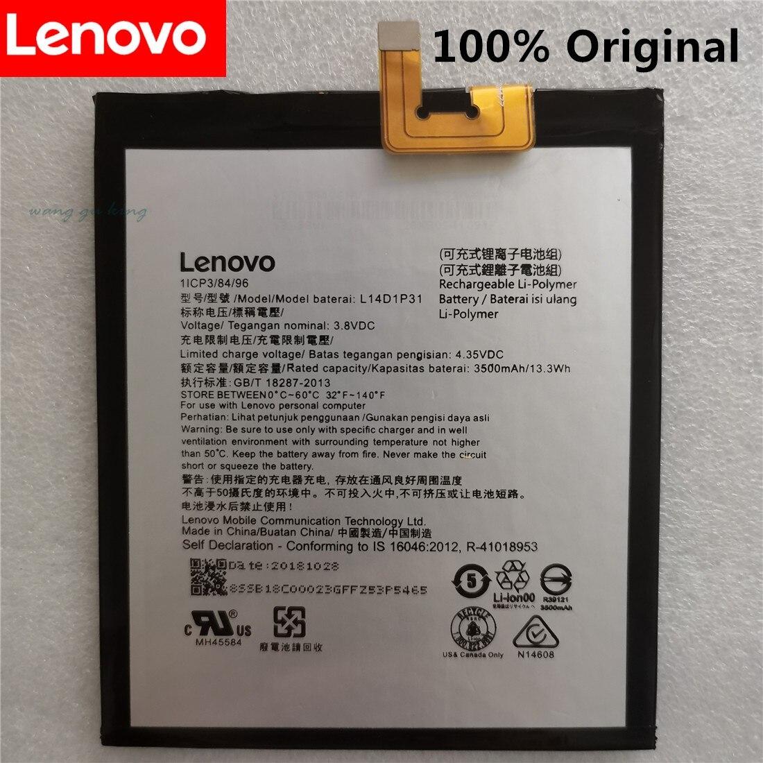 100% original de 3,8 V 3500mAh L14D1P31 para Lenovo PB1-770N PB1-770M PHAB Plus batería