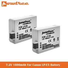 7.2v LP-E5 bateria 1600mah para canon eos rebel xs, rebel t1i, xsi rebelde, 1000d, 500d, 450d, beijo x3, beijo x2, beijo f, lpe5