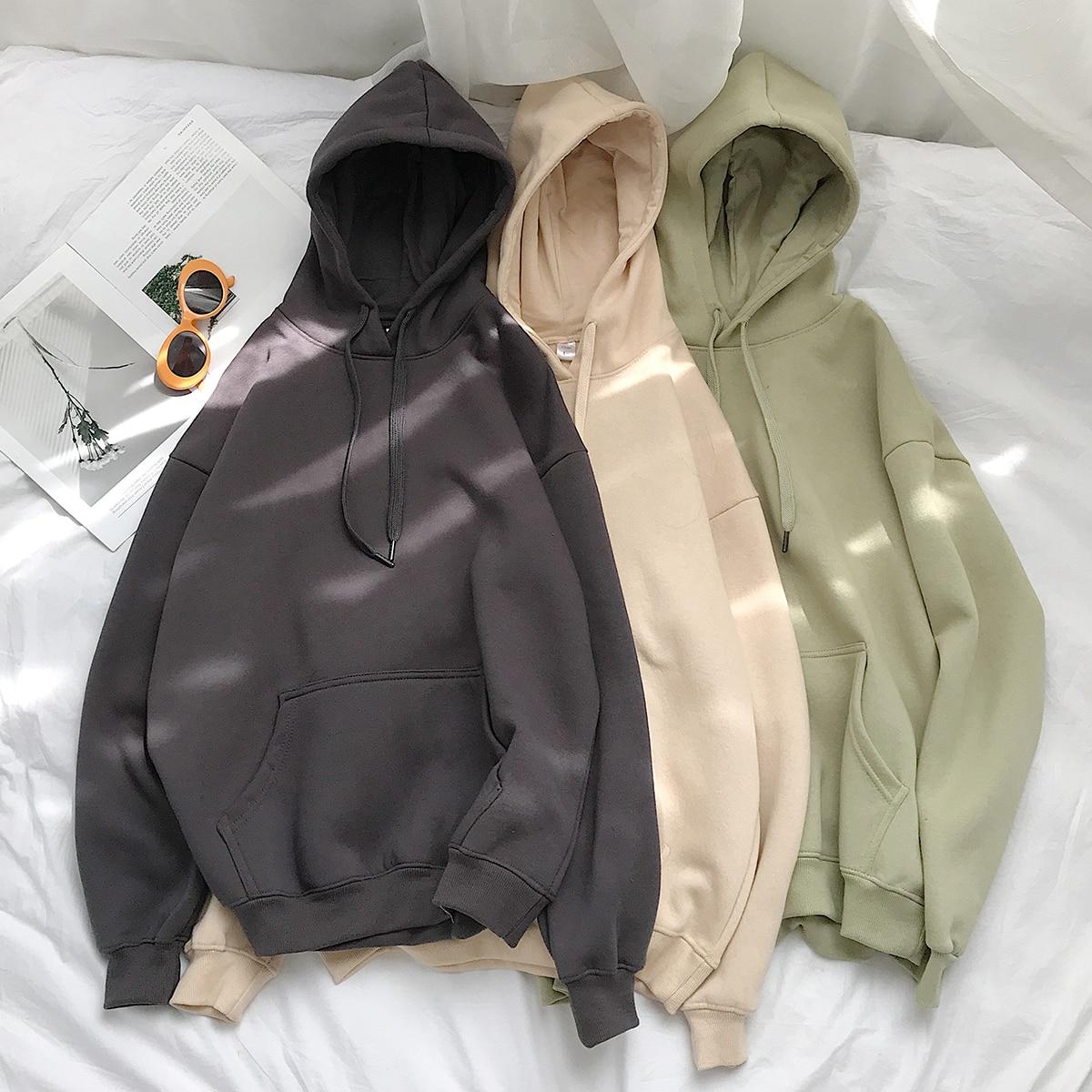 Женские однотонные толстовки 12 цветов, корейские женские пуловеры с капюшоном, 2020 хлопок, плотные теплые толстовки большого размера для жен...