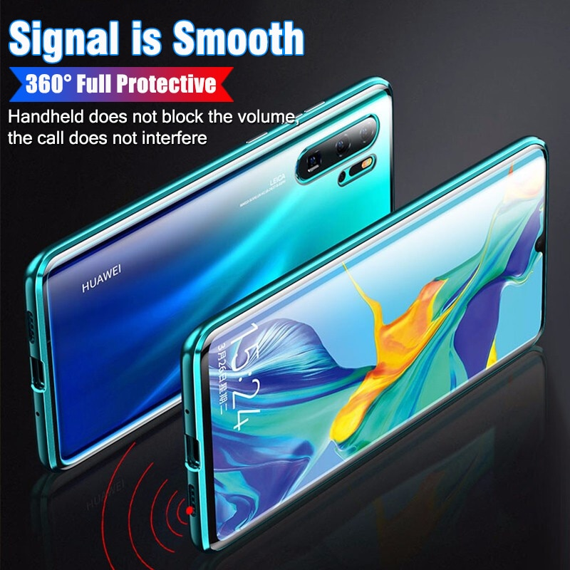 360°Full Protect Metal Magnetic flip Phone Case For Huawei P40Pro Case P30 Mate 20Pro Adsorption Tempered Glass Protective Cover enlarge