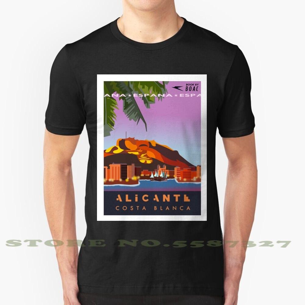 Camiseta blanca y negra con póster de viaje para hombre y mujer,...