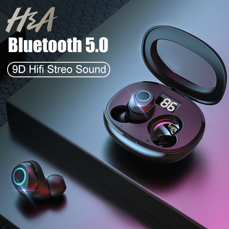 H&A Wireless Earphones Bluetooth V5.0 Earphone Mini TWS Wireless Bluetooth Headphones Hifi StereoTouch Control Handfree Headset