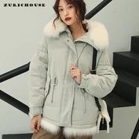zurichouse luxury natural rex rabbit fur women down coat thick 90 white duck down parka female warm loose winter jacket femme