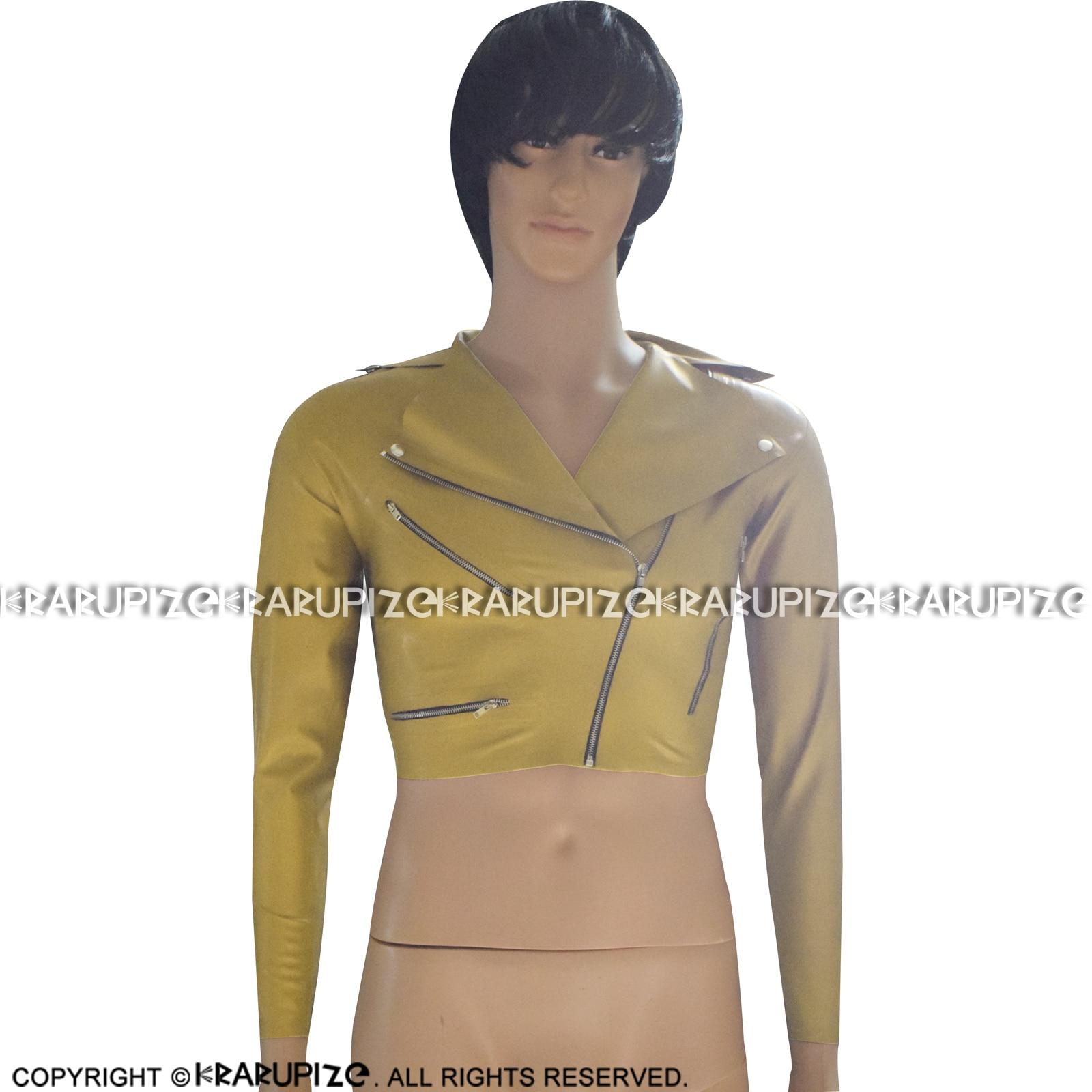 Cabolsa de Borracha com Zíper e Botões Dourado Sexy Curto Látex Jaqueta Turn Down Collar Roupas Terno Vestuário Superior Yf-0048