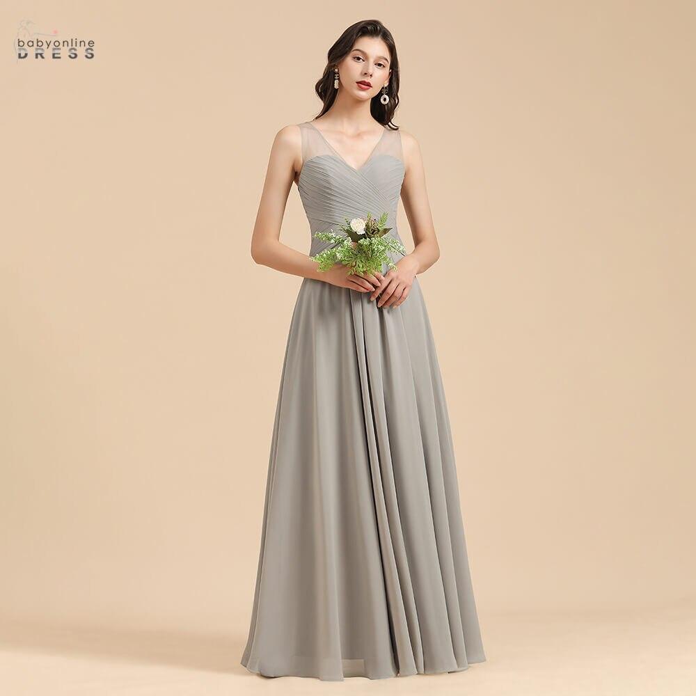 Babyonlinedress 50 Colors Chiffon Bridesmaid Dresses Long Tank Sleeves A Line Wedding Guest Dresses Pleated vestido de fiesta de недорого