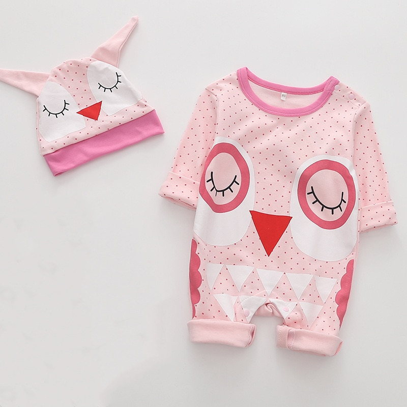 Infant Baby Girls Pink Romper Clothes Lovely Owl Animal Cosutme One Piece Long Sleeve Jumpsuit+Hat 2