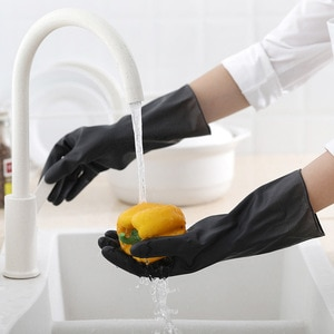 Cleaning Rubber Latex Gloves Men Women Black Housework Gloves Waterproof Durable Fo Kitchen Dishwashing Washing Clothes Hot Sale