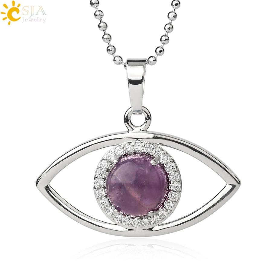Colgantes de piedra Natural redondos CSJA, amuleto de ojo de diablo circón con Micro incrustaciones, collar con colgante de Color plateado, joyería de moda para mujer G510
