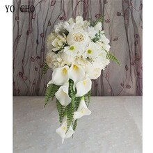 YO CHO-ramo de flores artificiales para boda, ramo de rosas de seda, blancas, para damas de honor