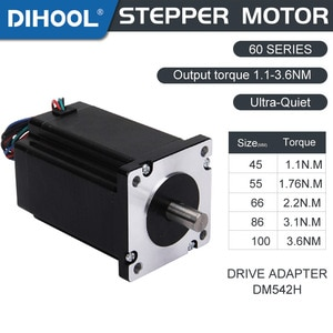 DC Micro Stepper Motor 60-HB45A 2-Phase 4-Wire 45/55/66/86/100mm Height 1.1~3.6N.M Torque Hybrid For 3D Printer Low Noise Driver