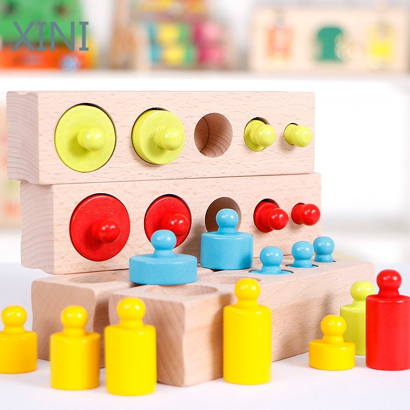 logwood baby wooden toys wooden block 26pcs learning educational toys for children animal words letter learn gifts for baby Montessori Materials Baby Wooden Toys Colorful Socket Cylinder Block For Children Educational Preschool Early Learning Toy