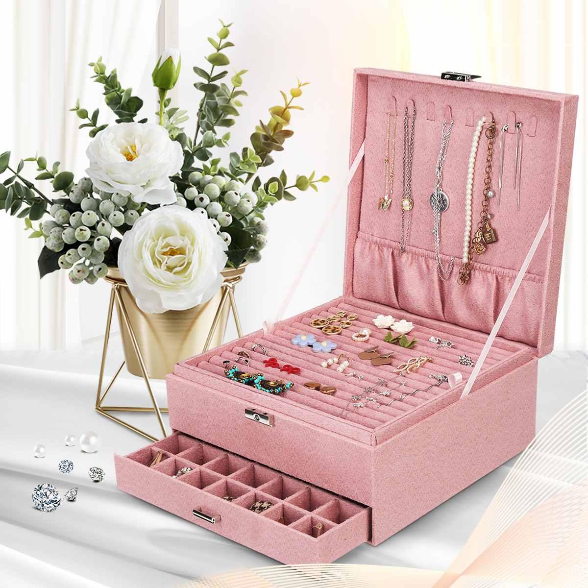 Caixa de Jóias Caixa com Bloqueio Rosa Veludo Camadas Grande Vintage Jóias Organizador Anel Colar Maquiagem Titular Cases Flanela Feminino 3