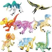8pcsset jurassic dinosaur blocks tyrannosaurus rex stegosaurus building kits toys