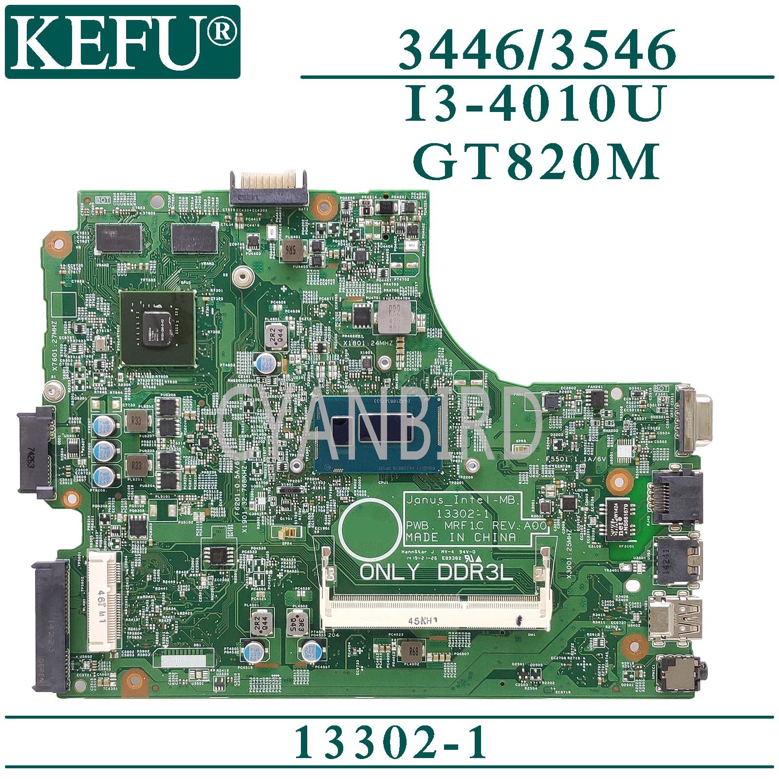 KEFU 13302-1 لوحة رئيسية أصلية لـ Dell Vostro 14-3446 15-3546 مع لوحة أم للكمبيوتر المحمول GT820M I3-4010U