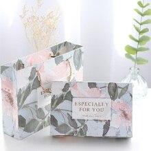 21*14*5cm 10pcs 라이트 블루 핑크 꽃 테마 쿠키 선물 종이 상자 마카롱 초콜릿 스낵 달콤한 사탕 포장 상자