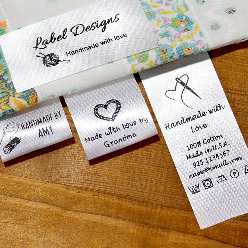 300 Custom Satin Silky Clothing Labels Wash Instruction, Fabric Sewing washable Label fold over, printed logo garment care tags wash label wash logo trademark main label main heading custom side label label custom embroidery