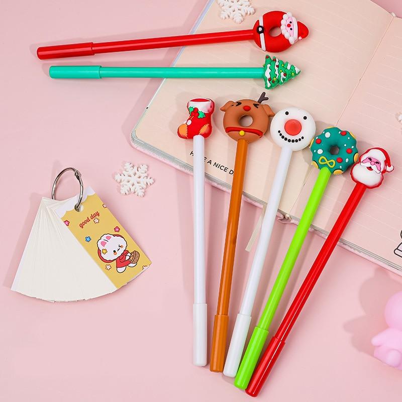 7 unids/set Set de plumas de Gel árbol de Navidad Santa kawaii pluma bonita señal negro bolígrafo para la escuela papelería niños mejor Festival de regalos