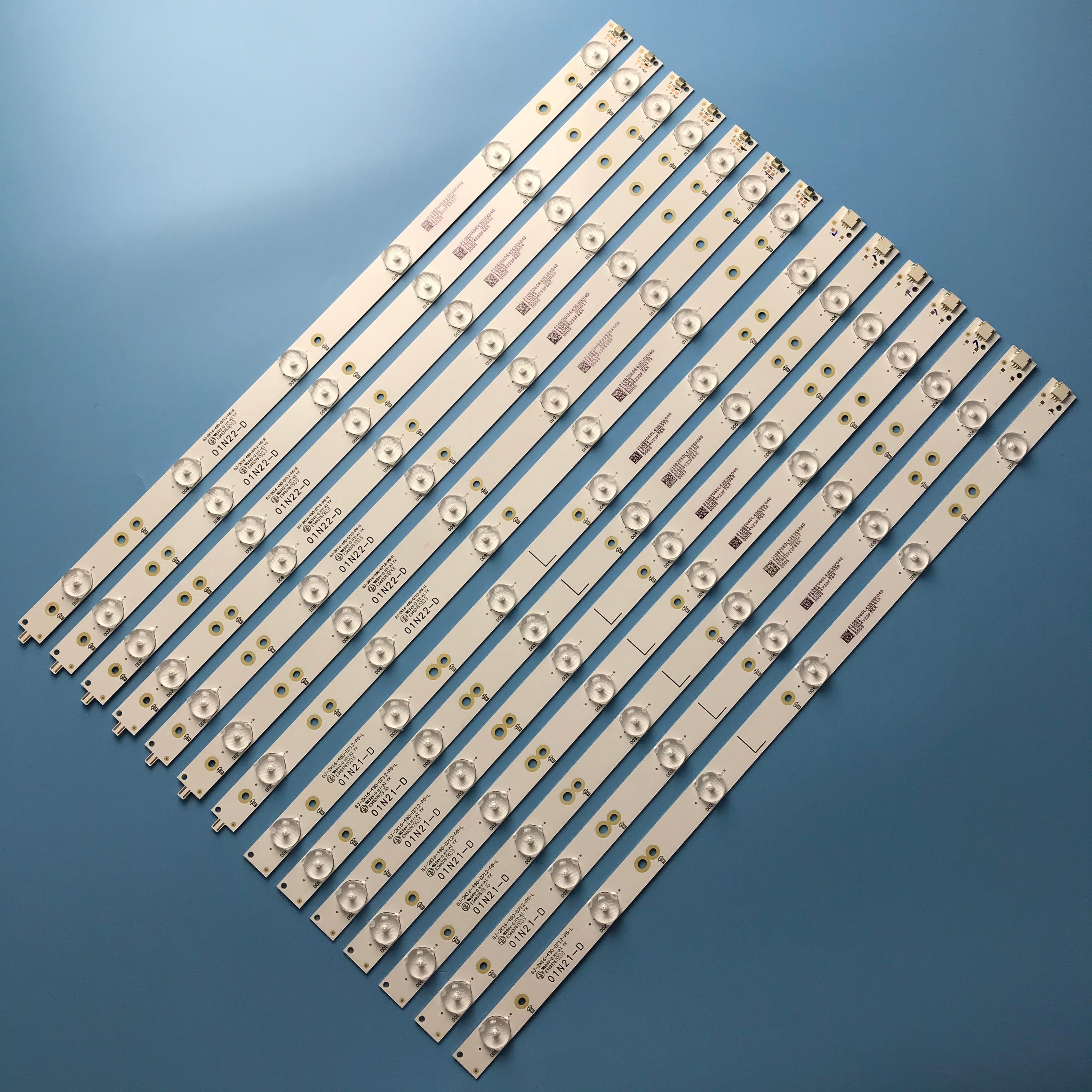 Tira de LED para iluminación trasera 6 + 6leds GJ-2K16-490-D712-P5-L + R para Philips 49 49PUS6401 49PUS6501 49PUH6101 49PUS6561/12 49PUS6101/12