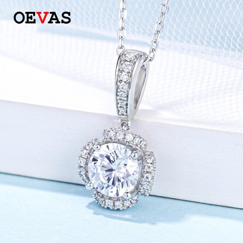 OEVAS 100% 925 argent Sterling réel 1 Carat D couleur Moissanite pendentif collier étincelant mariage fête nuptiale Fine bijoux cadeau