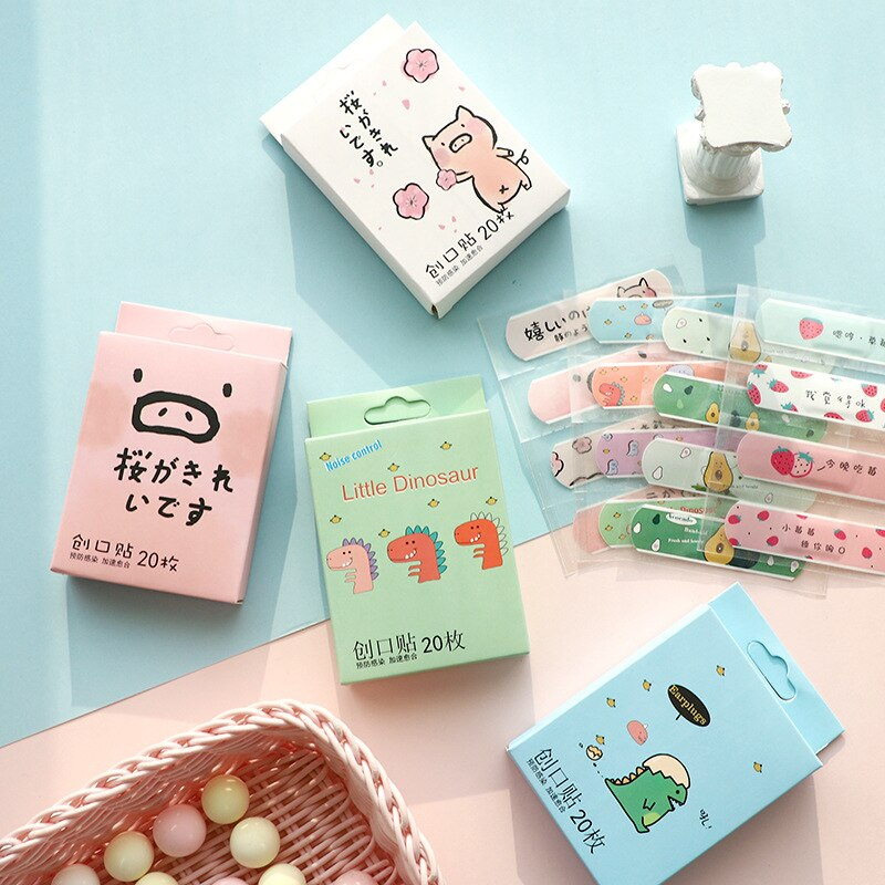 20PCS/BOX First Aid Cute Cartoon Band Adhesive Bandages Emergency Kit for Kids Children Plaster Survival Kit