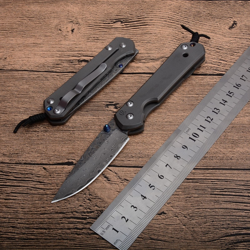 High Quality Folding Pocket Knive Damascus Blade titanium alloy Handle Outdoor Camping Hunting Tactical Survival Knive EDC Tools