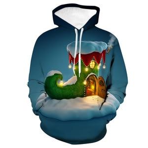 Unisex Christmas Socks House 3D Digital Print Loose Hooded Sweater Pullover Women Men Xmas New Year Baseball Sweatshirt Hoodie